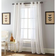 Semi sheer window panels come to refresh your window decor in minutes. These light and airy window panels are tailored with Grommets at the top for a fresh tran Sheer Curtain Panels, Grommet Curtains, Sheer Curtains, Window Curtains, Burlap Curtains, Blackout Curtains, Window Rods, Window Panels, Bathroom Windows