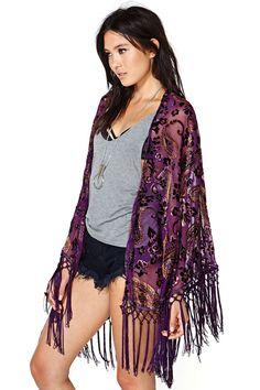 Reverse Sweet Worship Velvet Fringe Kimono | Shop Jackets + Coats at Nasty Gal