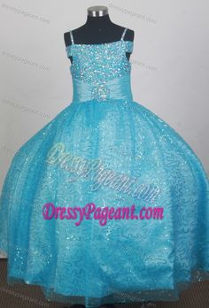 Beautiful Blue Beaded Flower Girl Dress with Spaghetti Straps and Sequins for Cheap