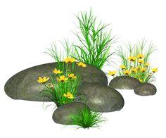 Камни с травой и желтыми цветами PNG изображение