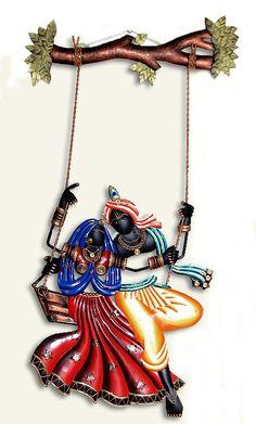Radha Krishna on a Swing - Iron Craft Wall Hanging for Home Decor