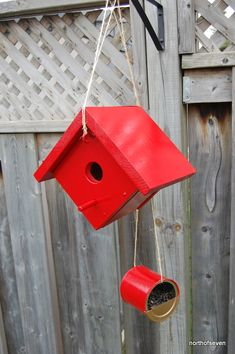DIY- Red bird house and feeder
