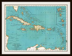 Antique WEST INDIES & CUBA 1939 Map Page  by KnickofTime