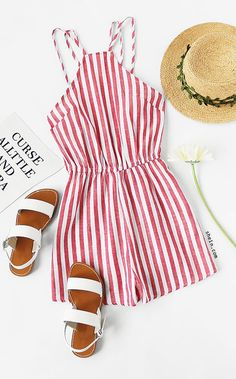Sandals Summer - Vertical Striped Sleeveless Jumpsuit - There is nothing more comfortable and cool to wear on your feet during the heat season than some flat sandals. Outfits For Teens, Casual Outfits, Cute Outfits, Teen Fashion, Fashion Outfits, Womens Fashion, Ootd Fashion, Cute Rompers, Striped Jumpsuit