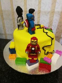 Superhero lego cake side view 2