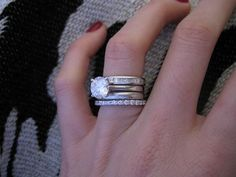 Show me your wraps\/mutliple stacked rings! : Show Me the Bling! (RingsEarringsJewelry) Diamond Jewelry Forum - Compare Diamond Prices Discussions & Diamond Information Diamond Rings, Diamond Jewelry, Solitaire Diamond, Stacked Wedding Bands, Stackable Wedding Bands, Wedding Jewelry, Wedding Rings, Halo Engagement Rings, Promise Rings