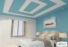 Looking for designer Residential False Ceilings? Check out Saint Gobain Gyproc's classy & extensive range of Residential False Ceiling designs for bedroom, living room, kitchen & kids room. House Styles, House Ceiling Design, Simple House Design, Colored Ceiling, Ceiling Design Bedroom, Grey And Yellow Living Room, Bedroom Design, Yellow Living Room, Bedroom House Plans