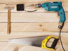 Carpenter's tools on pine desks Pine Desk, Carpenter Tools, Hammer Drill, Desks, Search, Image, Mesas, Searching, Desk