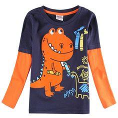 Ropa los muchachos niños nova embroma la ropa del muchacho camiseta 2015 recién llegado de 100% casual manga larga en primavera / otoño A6501