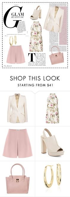 """""""Floral Blouse Glam"""" by penny-martin ❤ liked on Polyvore featuring Alexander McQueen, Miss Selfridge, Valentino, BCBGMAXAZRIA, ANS and Blue Nile"""