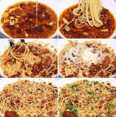 Spaghetti step by step