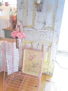 Shabby chic vintage pink chippy magazine by Vintagewhitecottage