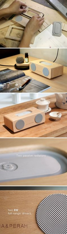 There's a reason most musical instruments are still made of wood. Sounds emanating from resonating wood are not only incredibly clear, but also have a naturally pleasing effect. Most Hi-fi home theate (Tech Home Smartphone) Diy Bluetooth Speaker, Diy Speakers, Built In Speakers, Boombox, Wooden Speakers, Speaker Design, Audio Design, Made Of Wood, Audio Equipment