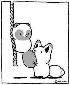 Red Panda Cute, Cute Fox, Cute Cartoon Drawings, Easy Drawings, Raccoon Drawing, Baby Raccoon, Animal Doodles, Fox Illustration, Animation Reference