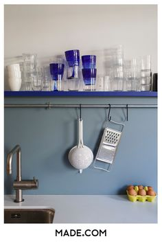 For a more vibrant feel, go blue. Textile designer Joost painted his kitchen this duck egg tone, which provides a soft background for his chrome fixtures and utensils. Try contrasting shades to add depth. Colour Schemes, Color Trends, Changing Room, Latest Colour, Rustic Feel, Wall Colors, Colours, Clutter, Shelving