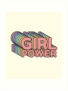 'GRL PWR - Girl Power cool Vintage distressed typography design cute Retro style Tee shirts ' Art Print by Chilling Nation , Vintage Typography, Typography Prints, Typography Design, Typography Tumblr, Retro Bed, Power Wallpaper, Soft Duvet Covers, Aesthetic Stickers, Wall Collage