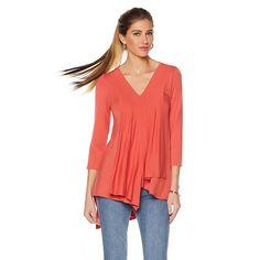 NENE by NeNe Leakes 3/4-Sleeve Draped Top - Orange