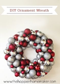 Try something different this holiday season with a DIY Ornament Wreath! This homemade home décor is a great way to add a pop of color and shimmer to your front door!