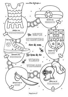 Wapenuitrusting van de Heer, Efeze 6 vers 11. Meer moois op kleurversjes.nl