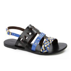 Florence sandal in Black & Blue Florence, Leather Sandals, Journey, Blue, Shoes, Women, Fashion, Moda, Zapatos