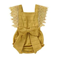 Argorgeous Baby Girl Romper Sleeveless Ruffle Bow-Knot Jumpsuit Sleeveless Solid Color Onesies Summer Clothes