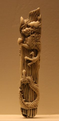 ♥ Netsuke_Dragon_coiled_around_a_dead_tree