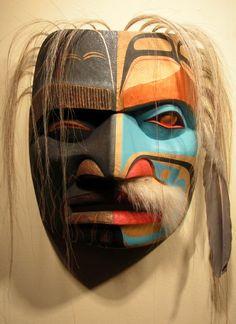 Ridicule mask George Hunt Jr. , Kwakiutl yellow cedar, horse hair, copper via Steinbrueck Native Gallery