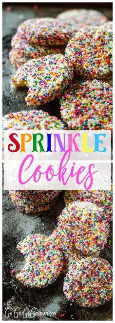 Sprinkle cookies - You can never have too many sprinkles! Sprinkle Cookies via Yummy Cookies, Holiday Cookies, Yummy Treats, Sweet Treats, Gourmet Cookies, Holiday Baking, Christmas Baking, Christmas Desserts, Christmas Treats