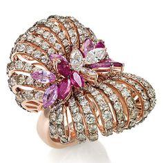 Stefan Hafner -  Ring Pillow rose gold, white and brown diamonds, pink sapphires