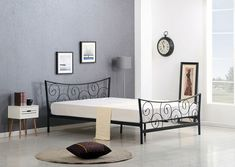 ClassicLiving Metallbett Tylersburg, 120 x 190 cm Bed Frame With Mattress, Upholstered Bed Frame, Upholstered Ottoman, Metal Double Bed, Double Bed Designs, Leather Headboard, Wooden Bed Frames, Ottoman Bed, Mattress Springs