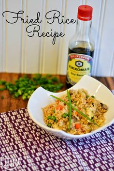 Takeout Style Fried Rice Recipe . . Cold cooked rice, egg, Soy Sauce, bag of frozen peas and carrotts, mushrooms, Green Onions, Kikkoman Fried Rice Seasoning Packet, meats as desired, sesame Oil to splash on at the end. By Itsy Bitsy Paper.