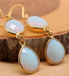 White Opalite Earrings Tear Drop Double