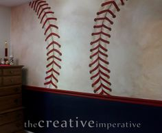 Baseball Wall This Would Be Soooooo Cool To Do With Like A Basketball Or Soccer Ball Whatever So Cute For Little Boys Room