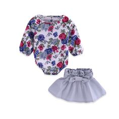 8cbd4706400 2019 Mikrdoo Newborn Baby Clothes Sets Retro Flowers Rompers Grey Dress  Suits Kids Girl Fashion Floral Tops Bowknot Outfit Top Set Wholesale From  Mikrdoo