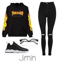 """""""Casual date with Jimin"""" by infires-jhope on Polyvore featuring WithChic, Topshop and NIKE"""