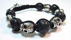 Shamballa Makramee Skull Totenkopf Schädel Armband von Geralin Gioielli auf DaWanda.com
