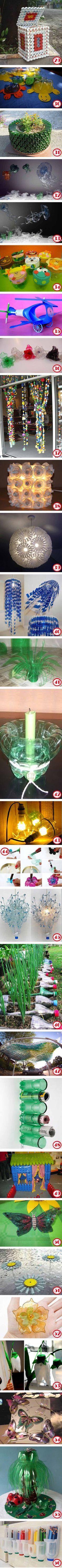 Manualidades mediante reciclaje de botellas pet