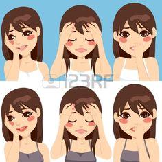 Mignon femme brune posant faire diff rentes expressions de visage triste inquiets Banque d'images