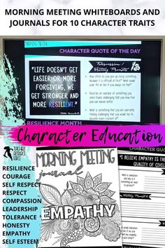 Character Education Morning Meeting Digital Whiteboard and Printable Journal BUNDLE, ideal for social and emotional learning. This bundle includes morning meeting day starters on: resilience, courage, self-confidence, self-respect, tolerance, leadership, respect, empathy, honesty and compassion. So help build your students' character in 5 minutes every day, and encourage them to be all that you know they can be! Teaching Character, Character Education, Character Development, Personal Development, Life Skills Lessons, Health Lessons, Social Emotional Learning, Social Skills, Morning Meeting Activities