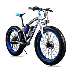 New 36V* 350 Watt Lithium Battery Electric Snow Bike Electric Bicycle SHIMAN0 21 Speed Mountain Bike Road Bicycle White and Blue