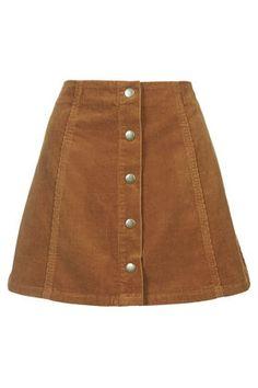 PETITE Cord Popper A-Line Skirt