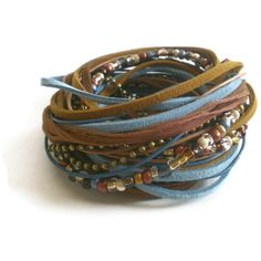 bohemian wrap bracelet leather suede ribbon beads por jcudesigns