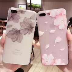 Cherry Petals Relief Silicone Case For Iphone X 7 Lace Leaves Tpu Case For Iphone 6 8 Back Cover - PINkart. Girly Phone Cases, Iphone 7 Plus Cases, Iphone Phone Cases, Phone Covers, Iphone Ringtone, Iphone Camera, Camera Lens, Coque Iphone 4, Coque Smartphone