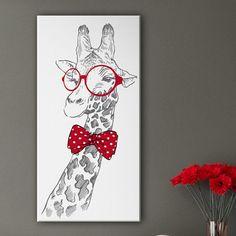 Joli tableau d'une girafe aux lunettes rondes rouges et au noeud papillon…