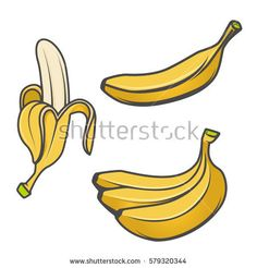 Set of banana icons isolated on white background. Design elements for logo, label, emblem, sign, brand mark. Vector illustration.