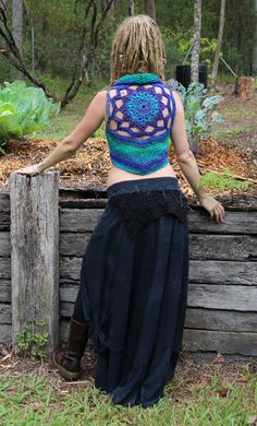 The yarn used for this vest is beyond beautiful! It looks as though faery have spun it. It is a combination of silk, mohair and wool in vibrant blues,