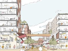 Active streetscape for a new mixed use scheme