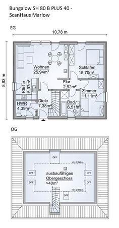 Grundriss Bungalow Haus Mit Garage Und Pultdach 3 Zimmer 90 Qm