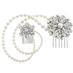 Bridal Hair Vine, Crystal and Pearl Headpiece, wedding hair accessory ($85) ❤ liked on Polyvore