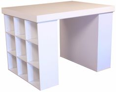 I think we could make a craft table like this with our bookcases from IKEA.